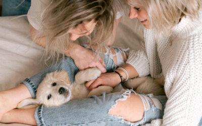 In home coupleshoot met puppy!